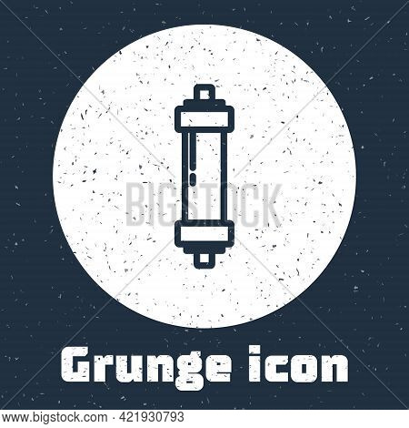 Grunge Line Shock Absorber Icon Isolated On Grey Background. Monochrome Vintage Drawing. Vector