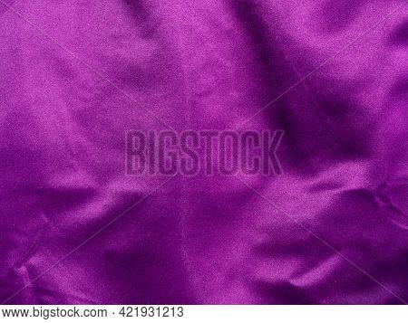 Purple Silk Fabric Texture Top View. Violet Background. Fashion Trendy Color Feminine Satin Dress Fl