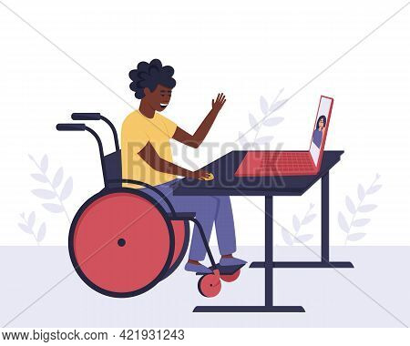 An African American Disabled Guy Communicates With A Girl He Knows Through Video Communication. The