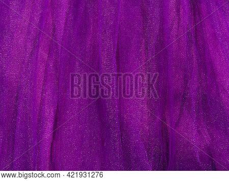 Purple Tulle Fabric Texture Top View Violet Background Fashion Trend Color Feminine Tutu Skirt Dress