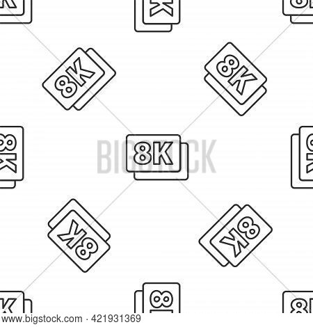 Grey Line 8k Ultra Hd Icon Isolated Seamless Pattern On White Background. Vector