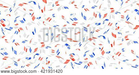 Red, White, Blue Glossy Confetti Flying On White. Flying Tinsel Sparkles, Gradient Foil Confetti Fal