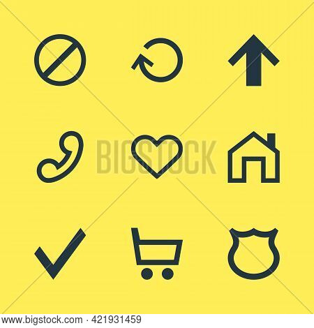 Vector Illustration Of 9 Interface Icons. Editable Set Of Trading Cart, Homepage, Up And Other Icon