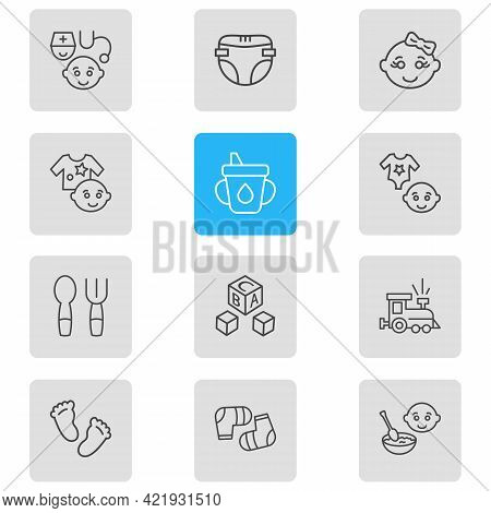 Vector Illustration Of 12 Infant Icons Line Style. Editable Set Of Baby Socks, Baby Spoon With Fork,