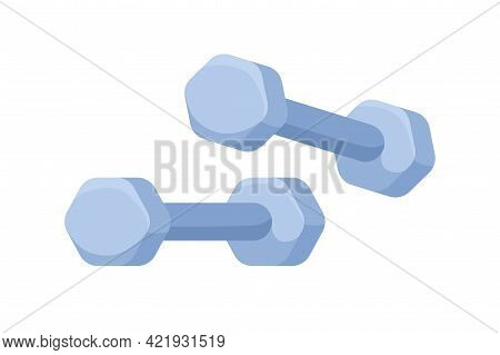 Dumbbells For Sports Exercises With Free Weights. Dumbells For Home And Gym Workout. Athletic Equipm