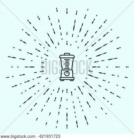 Black Line Blender Icon Isolated On Grey Background. Kitchen Electric Stationary Blender With Bowl.