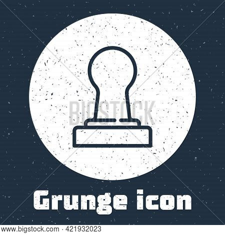 Grunge Line Coffee Tamper Icon Isolated On Grey Background. Monochrome Vintage Drawing. Vector