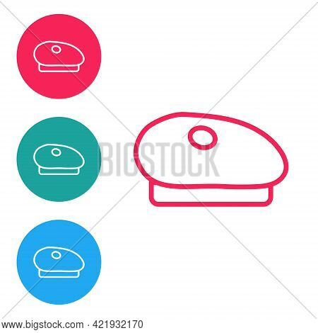 Red Line French Beret Icon Isolated On White Background. Set Icons In Circle Buttons. Vector