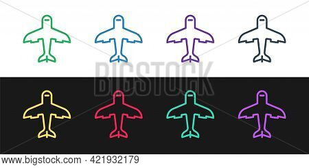 Set Line Plane Icon Isolated On Black And White Background. Flying Airplane Icon. Airliner Sign. Vec