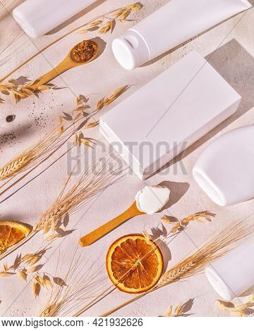 Spa Composition With Cosmetics Botles, Boxis And Wooden Spoons With Fresh Ingredients