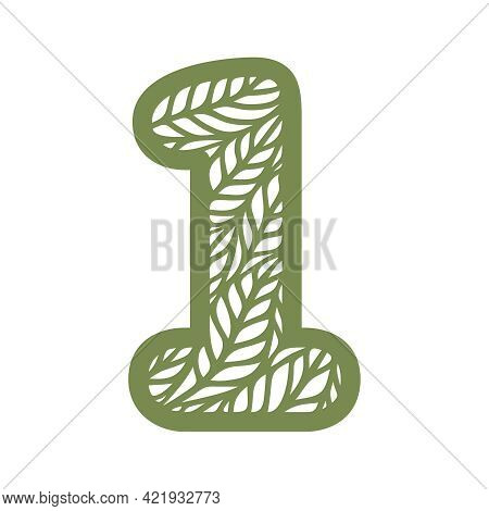 Number 1 (one) With Leaf Pattern. Spring Or Summer Font With Floral Ornaments. Decorative Element Fo