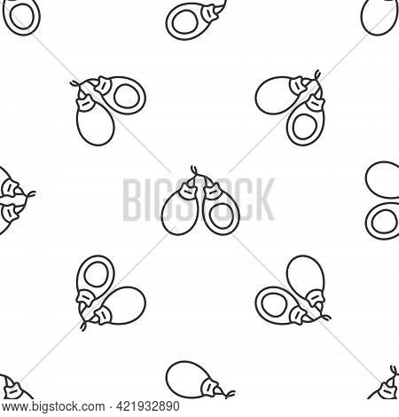 Grey Line Musical Instrument Castanets Icon Isolated Seamless Pattern On White Background. Vector