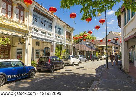 Penang, Malaysia - February 14,2019 : Street View In Front Of Sun Yat Sen Museum Penang In Penang, M