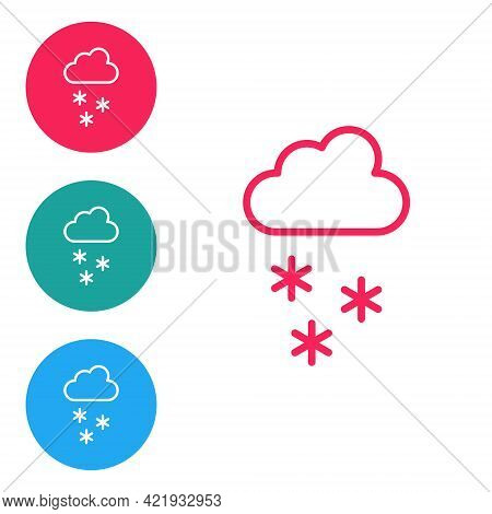Red Line Cloud With Snow Icon Isolated On White Background. Cloud With Snowflakes. Single Weather Ic