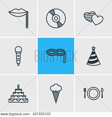 Illustration Of 9 Banquet Icons Line Style. Editable Set Of Cd, Birthday Cake, Masquerade And Other
