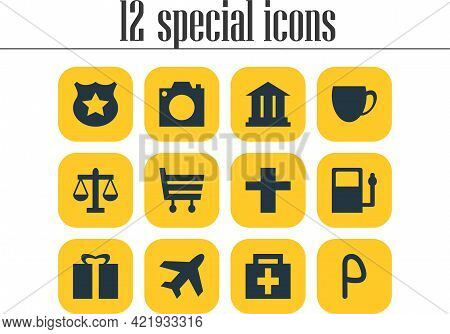 Illustration Of 12 Check-in Icons. Editable Set Of Airplane, Camera, Market And Other Icon Elements.