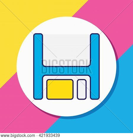 Illustration Of Floppy Disk Icon Colored Line. Beautiful Computer Element Also Can Be Used As Disket