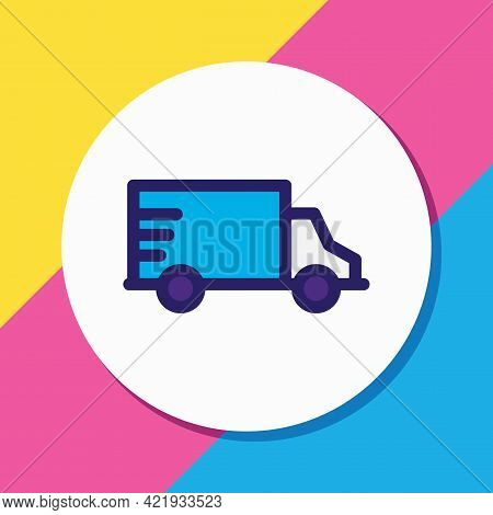 Illustration Of Truck Icon Colored Line. Beautiful Transport Element Also Can Be Used As Van Icon El