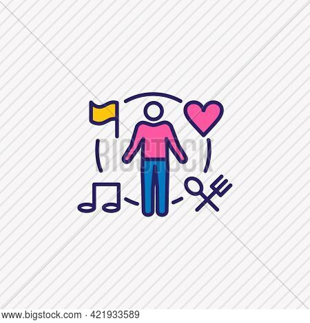 Illustration Of Behavior Icon Colored Line. Beautiful Emotions Element Also Can Be Used As Activity