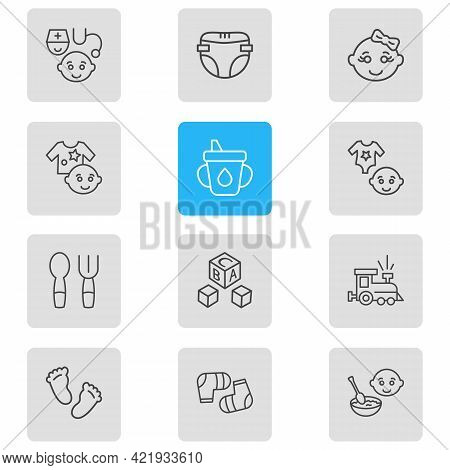 Illustration Of 12 Infant Icons Line Style. Editable Set Of Baby Socks, Baby Spoon With Fork, Alphab