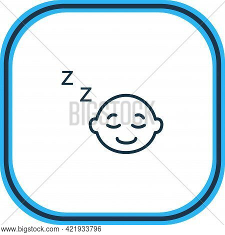 Illustration Of Sleeping Baby Icon Line. Beautiful Baby Element Also Can Be Used As Dream Icon Eleme