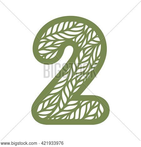 Number 2 (two) With Leaf Pattern. Spring Or Summer Font With Floral Ornaments. Decorative Element Fo