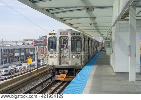 Chicago, Illinois - April 23,2018 : The View Of Cermak-chinatown Train Station In Chicago,usa On Apr