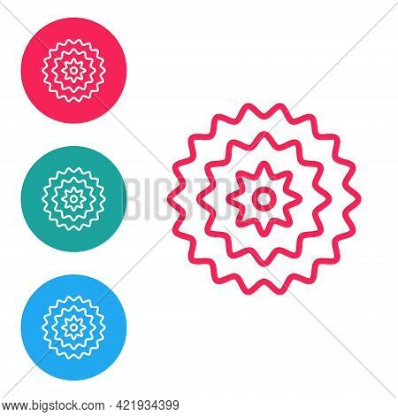 Red Line Bicycle Cassette Mountain Bike Icon Isolated On White Background. Rear Bicycle Sprocket. Ch