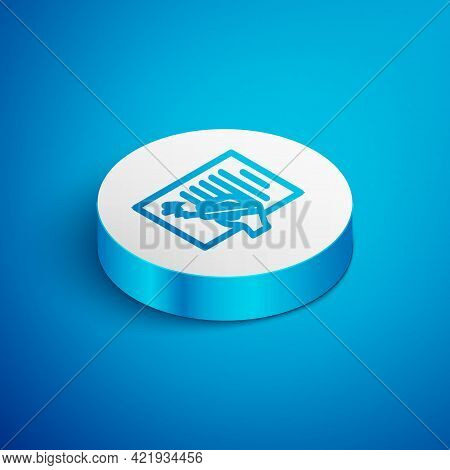 Isometric Line Petition Icon Isolated On Blue Background. White Circle Button. Vector