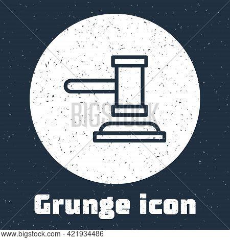 Grunge Line Judge Gavel Icon Isolated On Grey Background. Gavel For Adjudication Of Sentences And Bi