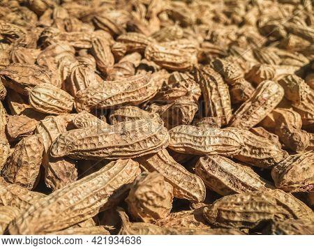 Close-up Of Peanuts (arachis Hypogaea). Food Background.