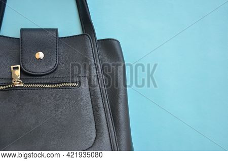 High Angle View Of Premium Black Color Leather Handbag With Negative Space