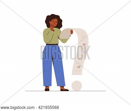 Businesswoman Solves Difficult Problems. Black Female Employee Woman Manages Conflicting Tasks In A