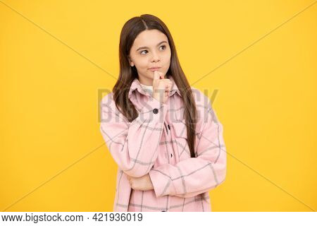 Thoughtful Look. Tween Child Wear Plaid Shirt. Chequered Flannel Jacket. Beauty And Fashion.