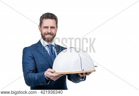Professional Restaurant Manager With Cloche. Secret Of Success. Businessperson Hold Main Dish.