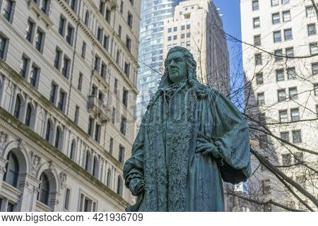 Sculpture Of John Watts On The Trinity Church\'s Cemetery In Manhattan.