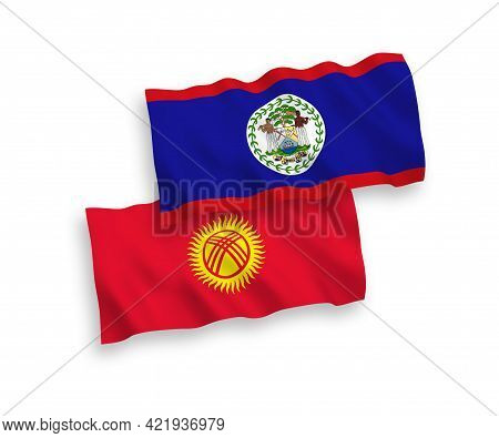 National Fabric Wave Flags Of Belize And Kyrgyzstan Isolated On White Background. 1 To 2 Proportion.