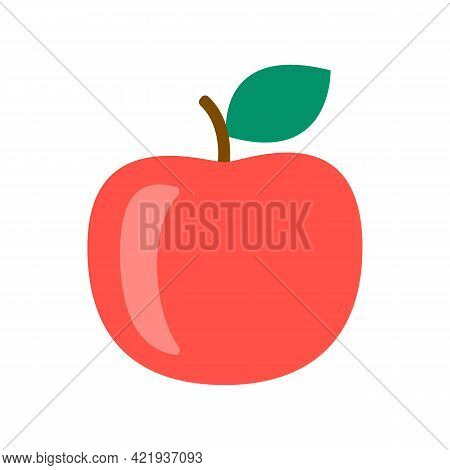 Red Apple Closeup, Harvest Ripe Fruit Icon. Popular Healthy Garden Food. Apple Fruit. Vector Flat