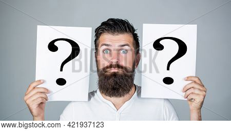 Man With Question Mark. Paper Notes With Question Marks. Beard Man Question Mark, Solution Problems.