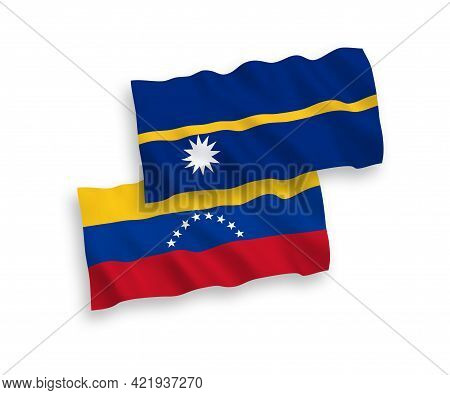 National Fabric Wave Flags Of Venezuela And Republic Of Nauru Isolated On White Background. 1 To 2 P