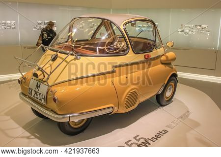 Germany, Munich - April 27, 2011: Bmw Isetta In The Exhibition Hall Of The Bmw Museum. One Of The Mo