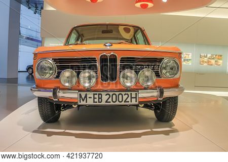 Germany, Munich - April 27, 2011: Bmw 2002 Ti Coupe In The Exhibition Hall Of The Bmw Museum. Front