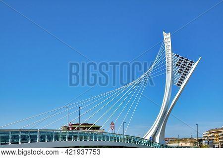 Pescara, Italy - 04 30 2021: Tower Of The Ponte Ennio Flaiano