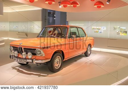 Germany, Munich - April 27, 2011: Bmw 2002 Ti Coupe In The Exhibition Hall Of The Bmw Museum. The Ca