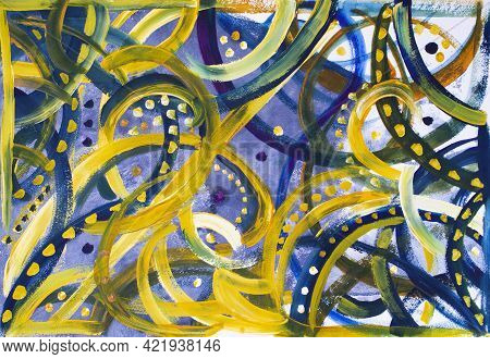Abstract Textured Geometric Multicolor Mysterious Blue And Yellow Background