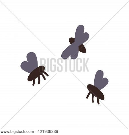 Housefly Insect And Cartoon Black Fly Insect. Vector Illustration.