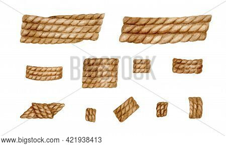 Watercolor Rope Set. Hand Drawn Jute Spiral Cord Illustration. Set Of Natural Burlap Rope Isolated O