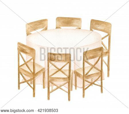 Watercolor Banquet Table With Wood Chairs Isolated On White Background. Hand Drawn Empty Round Table