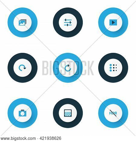 Picture Icons Colored Set With Blur, Tune, High Dynamic Range And Other Hdr Off Elements. Isolated V