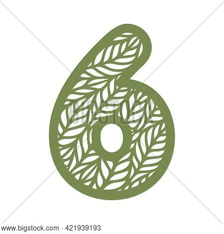 Number 6 (six) With Leaf Pattern. Spring Or Summer Font With Floral Ornaments. Decorative Element Fo